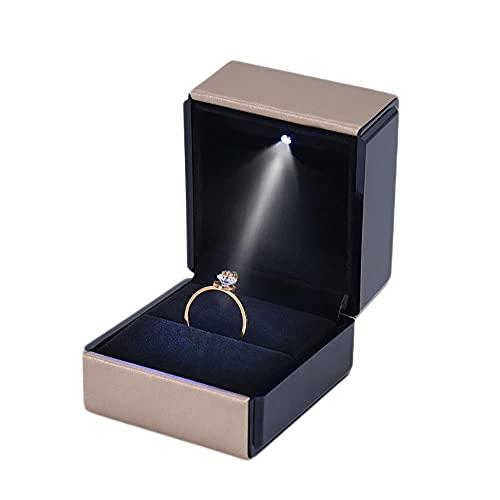 Aexle Joyero de piel cepillada con luz LED, caja de anillo de jade diamante