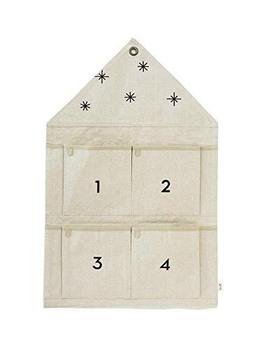 Ferm Living Christmas Calendario dell'Avvento, Cotone, Sabbia, 50cm