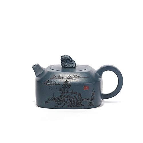 Teapot Tea Cup Teapot Famous Tea Gift Ideas Hand-Carving Four Days Qingni Beast Guitar Maker Classic Tea Set (Color : Purple mud)