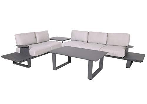 lifestyle4living Loungemöbel Set (Premium) aus Aluminium, Beige Anthrazit, wetterfest, 3-teilig   Modernes Garten Lounge Set mit Aluminiumgestell für 5 Personen