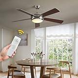 VISDANFO Ventilatore da soffitto con ventola silenziosa, telecomando da 132 cm, 5 pale di ventilazione, illuminazione a LED classica, temperatura di colore disponibile tutto l'anno