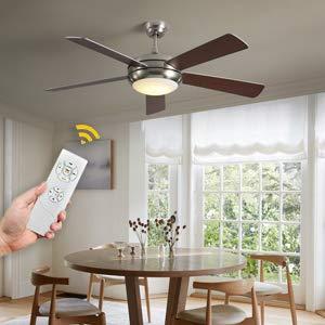 VISDANFO Deckenventilator mit leiser Ventilator Fernbedienung 132 cm 5 Ventilatorflügel LED-Beleuchtung Classic Gehäuse Farbtemperatur, ganzjährig erhältlich