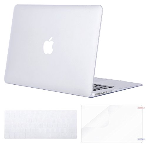 Mosiso Plastic Hard Case with Keyboard Cover with Screen Protector for MacBook Air 13 inch, Light Pure