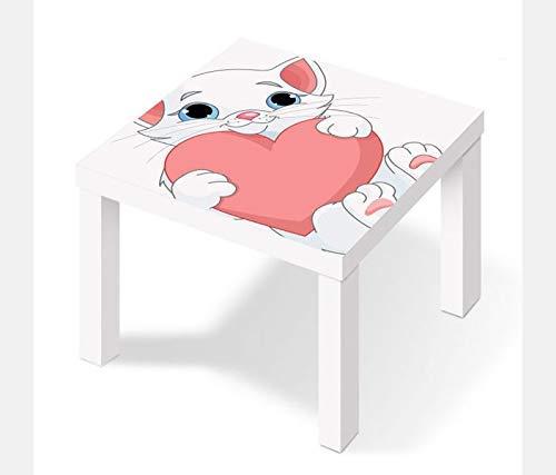 Möbelaufkleber für Ikea Lack Tisch 55x55cm Kinderzimmer Katze Baby süß Kat2 Kätzchen Herz LT1 Aufkleber Klebefolie Möbelfolie Folie (Ohne Möbel) 25W2671