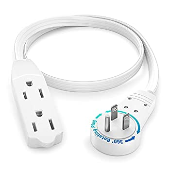 Extension Cord White Flat Multi Plug 1 Ft - 360° Rotating Short Power Cords Multi Outlet Indoor / Outdoor 16 Gauge 3 Prong Grounded Wire UL Listed   White 1 Foot