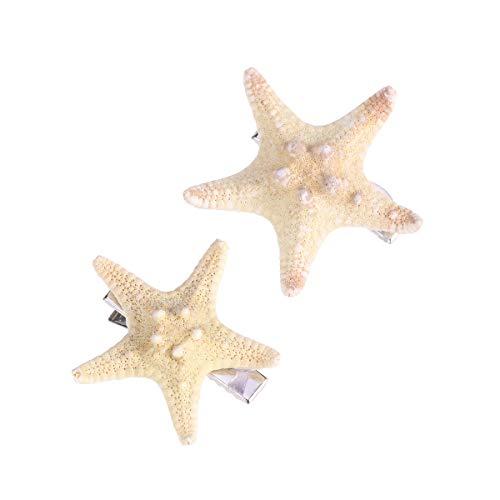 FRCOLOR 2PCS Starfish Hair Clip Handmade Natural Sea Star Hair Pins Cute Headwear for Girls Kids Women, Random Size