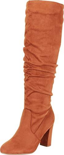 Cambridge Select Damen Slouch Chunky Blockabsatz kniehohe Stiefel, Braun (Chestnut Imsu), 38.5 EU