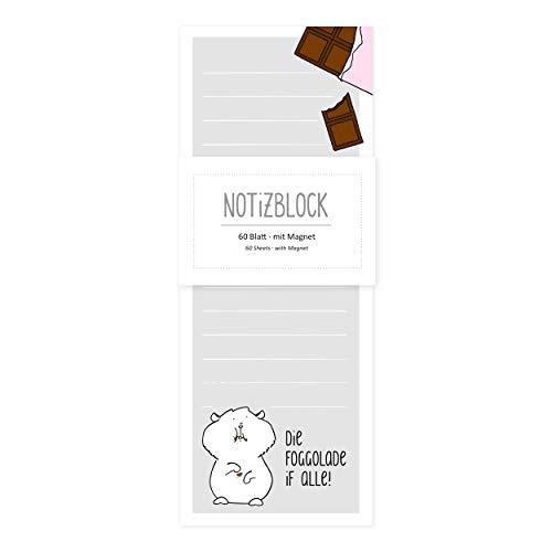Notizblock/Notizzettel gebunden, 60 Blatt, kariert, lustig, magnetisch für Kühlschrank mit Motiv, Katze mit Schokolade, Einkaufsliste, witzig
