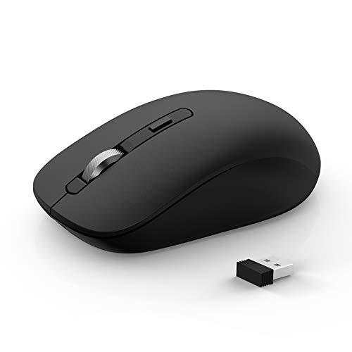 Ratón inalámbrico Bluetooth Joyaccess, con 3 Modos para portátiles (BT 5.0/3.0 + 2,4Ghz), Silencioso Mini ratón para Mac OS, PC, Macbook, Android, Windows, Negro