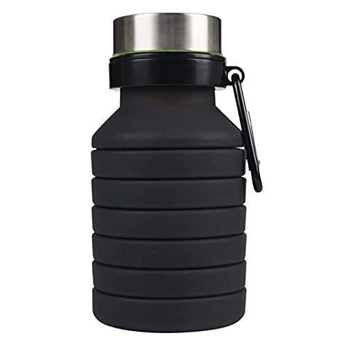 wjmss Tazas de Deportes, Botella de Agua retráctiles al Aire Libre de 550 ml Bolsa de Agua Plegable Plegable para Deportes de Ciclismo al Aire Libre,Negro
