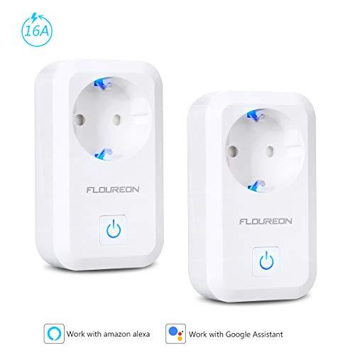 FLOUREON Enchufe inteligente, salida de WiFi Compatible con el interruptor de enchufe del temporizador de control remoto del enchufe inalámbrico Alexa, no se requiere hub