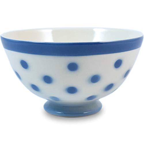 Niderviller Milchkaffee Müsli Schale original Fayence Keramik mit Standfuß 40 cl Erbsen blau