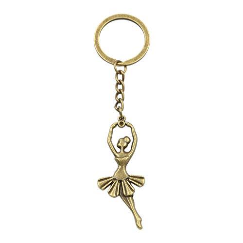 WANM Schlüsselanhänger Ballett Mädchen Tänzerin Ballerina Anhänger Schlüsselring Kette Silber Farbe Männer Auto Geschenk Souvenirs Schlüsselbund Legierung Anhänger
