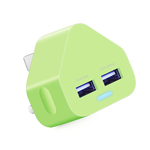 AMG 2.1A Dual USB Mains Charger for All of Mobile Phones & Tablets Devices -Dual / 2 Port Cable Hub for Power Charging Devices & Accessories On UK 3 Pin Plug Mains Adapter for Samsung A3,A4,A5/S5,S6, S7 Edeg/ Galaxy / Tab / HTC / Nexus / Xperia / Hudl Apple iPhone 3/ 4 / 4s / 5 / 5c / 5s /5E/ 6 / 6 Plus /6s / 6s Plus - iPad 1 / 2 / 3 / 4 / Air /Pro/Mini 2.3.4- Mobile Phone / iPod / MP3 & 4 Player (Green)