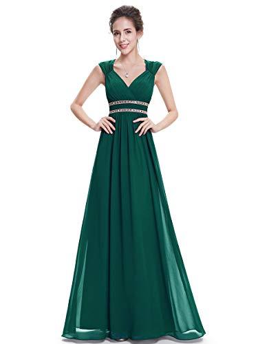 Ever-Pretty Damen Abendkleid A-Linie Partykleid V Ausschnitt Brautjungfer rückenfrei lang Pfirsich...
