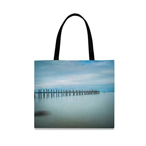Bolso de mano de gran capacidad informal reutilizable Bolso Puente Sea Nature Fashion Carry