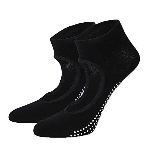 EZWOO Calcetines antideslizantes de yoga con agarre para mujer para pilates Barre Dance Home Fitness 2 pares, color negro, grande