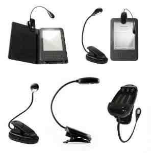 Negro LED Clip-On lectura lámpara de luz para Todos Kindle de Amazon, leer libros, lectores electrónicos, ordenadores portátiles, Kobo, mapa, etc Atriles