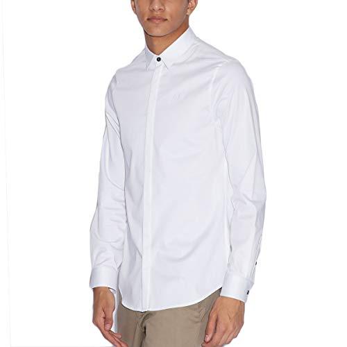 ARMANI EXCHANGE Smart Stretch Satin Camicia, Bianco (White 1100), Medium Uomo