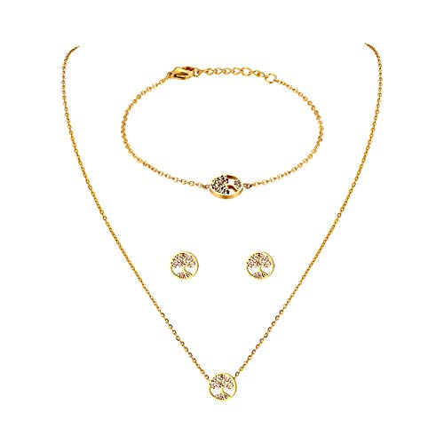 JewelryWe Schmuck Damen Armband Halskette Ohrringe Schmuckset Edelstahl Lebensbaum Anhänger mit Kette, Armkette & Ohrstecker Set für Frau Mädchen Gold