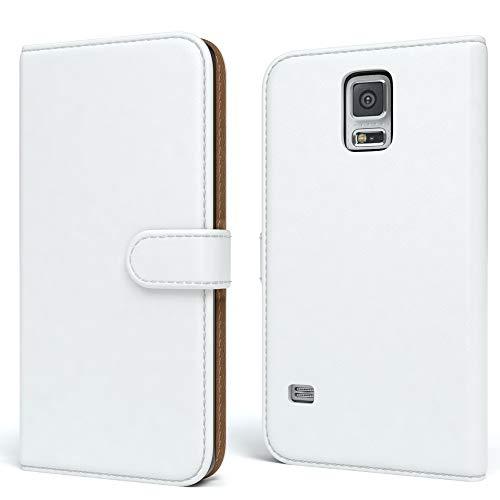 EAZY CASE Tasche kompatibel mit Samsung Galaxy S5/LTE+/Duos/Neo Schutzhülle mit Standfunktion Klapphülle Bookstyle, Handytasche Handyhülle mit Magnetverschluss & Kartenfach, Kunstleder, Weiß