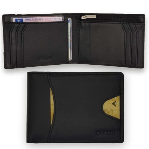 Cartera para Hombre en Piel Genuina AZZAM - Cartera Minimalista Protección RFID - Tarjetero con 9 Ranuras para Tarjetas de crédito, DNI, Ranura para Billetes - Idea de Regalo