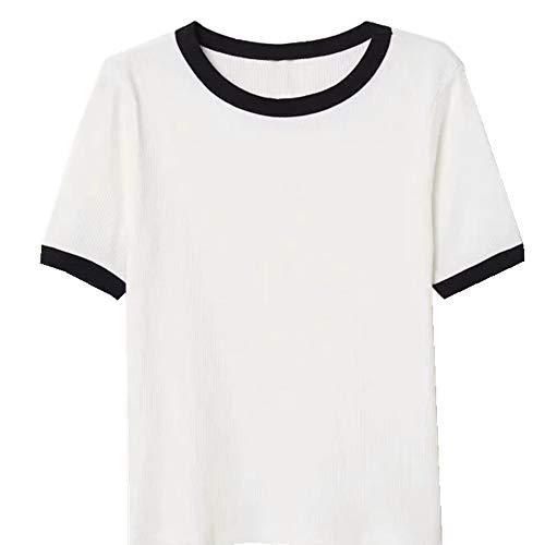 NOBRAND - Camiseta de manga corta con cuello redondo y cuello redondo para mujer 2 blancos. S