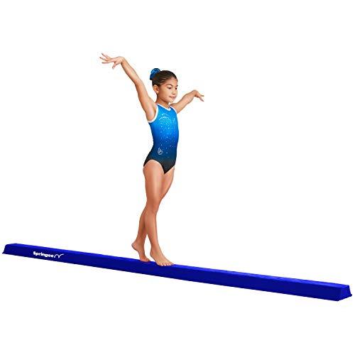 Springee 10ft Balance Beam - Extra Firm - Suede Folding Gymnastics Beam for Home - Blue