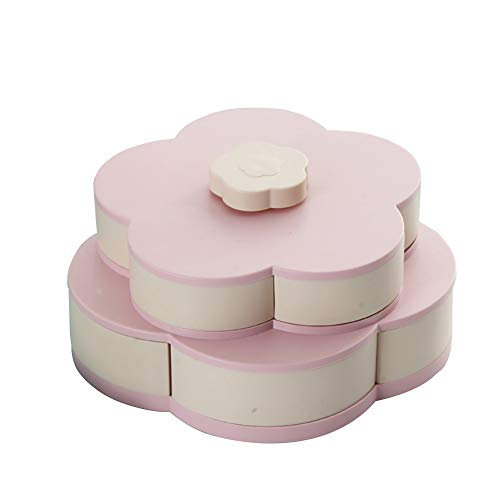 Matedepreso Flower Type Rotating Candy Box Double Layer...