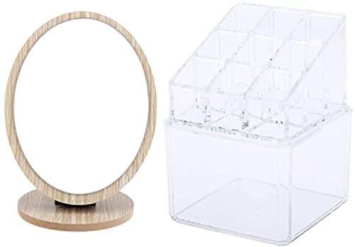 Espejo de baño plegable de madera Cosmetics de escritorio Maquillaje de escritorio Espejo de afeitado + Cosméticos Joyas de almacenamiento Mueble de almacenamiento Transparente Almacenamiento Rack Maq
