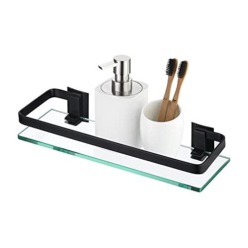 KES Bathroom Wall Shelf Black Aluminum Extra Thick Tempered Glass Rectangular 1 Tier Basket Wall Mounted, A4126A-BK