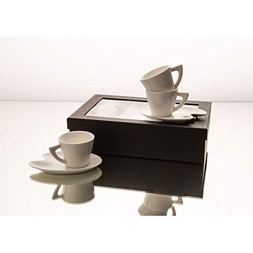 Amadeus - Coffret 4 tasses 80 ml porcelaine avec sous tasses palette