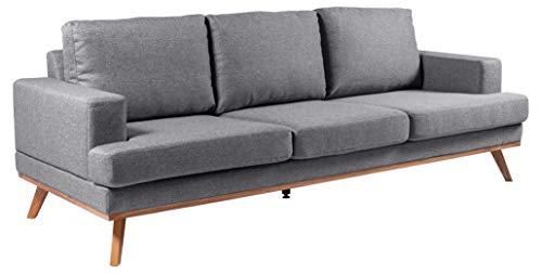 Amazon Brand - Movian Rotsee - Sofá de 3 plazas, 92 x 231 x 81 cm (largo x ancho x alto), gris claro (tapizado Malmo)
