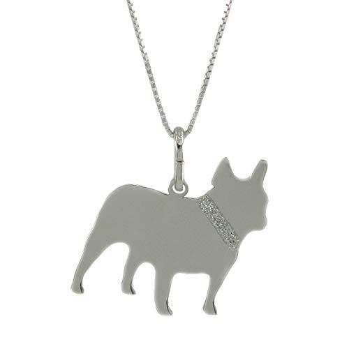 Colgante de perro bulldog francés de plata 925 con cadena y grabado