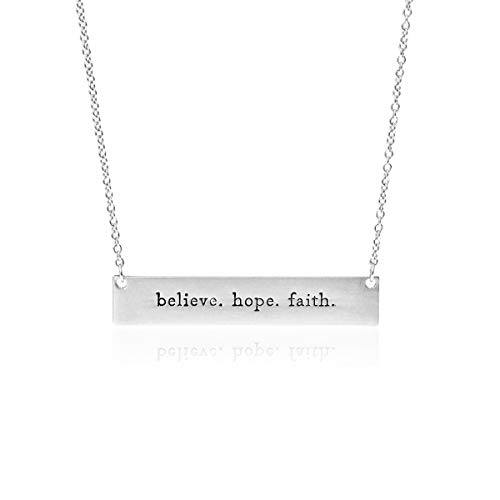 Simple Message Horizontal Bar Pendant Necklace - Inspirational Christian Religious Engraved Plate Delicate Chain Amazing Grace, Believe, Hope, Faith, Blessed (Believe Hope Faith - Silver)