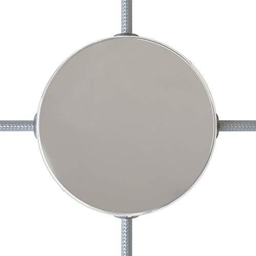 creative cables Zylindrischer 4-Seitenloch-Lampenbaldachin Kit aus Metall (Anschlusssystem) - Chrom