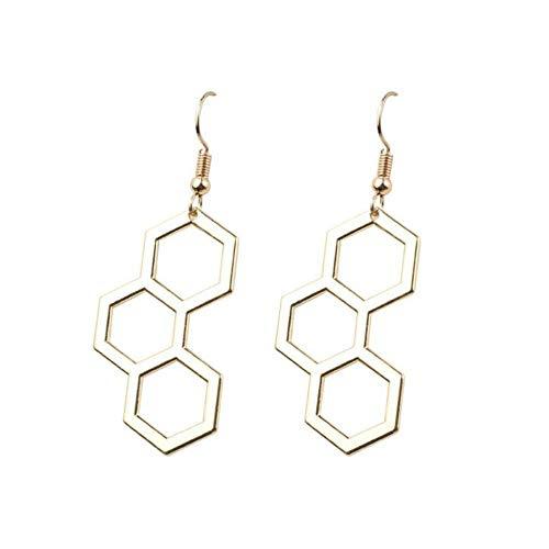 SGDBBR Design Simpatiche molecole chimiche Orecchini a Goccia personalità cavità a Nido d'Ape Geometrici Orecchini Regalo di Gioielli per Ragazze Divertenti
