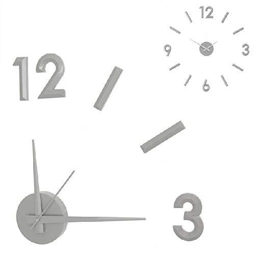 Dcasa Adhesivo Bisel Pared Relojes de Chimenea Decoración del hogar Unisex Adulto, Gris (Gris), única