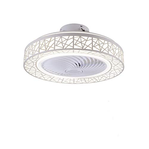 RongWang 50cm LED Inteligente Ventiladores De Techo Ventilador con Luces A Distancia Control De Dormitorio Decoración Ventilador Lámpara Aire Invisible WiFi Bluetooth Silencio (Color : White)