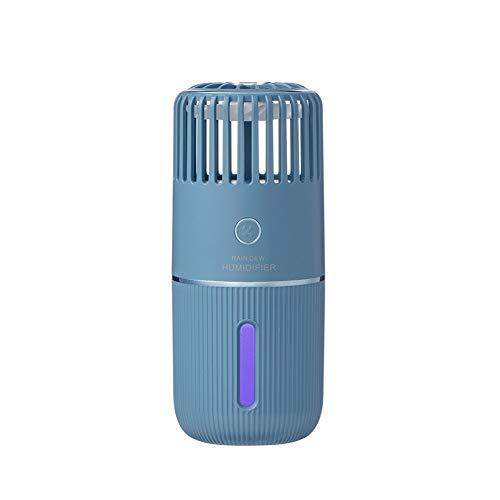 200 ml draagbare luchtbevochtiger, Mini Cool Mist-luchtbevochtiger met nachtlampje, USB persoonlijke luchtbevochtiger Automatische uitschakeling, Ultrastil,Blue