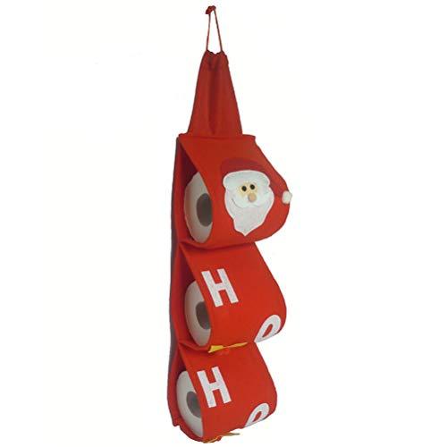 LUOEM Rollo de Papel de Navidad Que cuelga Cubierta de Almacenamiento Papá Noel Organizador del sostenedor del Papel higiénico para la decoración del hogar del día de Fiesta