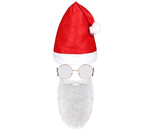 Alsino Weihnachtsmütze Weihnachtsmann Mütze mit Bart und stylischer Brille Nikolausmütze Kostüm Weihnachten Nikolauskostüm Vollbart Kv-228