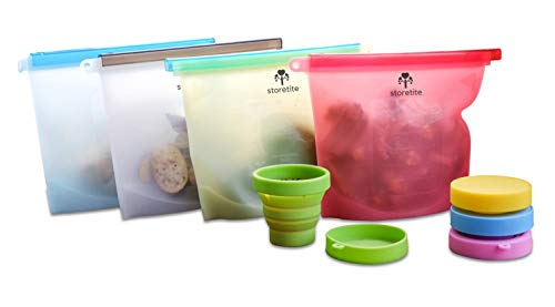 Stortite Reusable Silicone Food Bag 4 Pack, Airtight Zip Seal Storage Bags | Sandwich, Sous Vide, Liquid, Snack, Lunch, Fruit, Freezer, BEST for preserving and cooking , Bonus Collapsible Cup