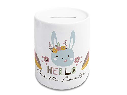 GRAZDesign Spardose Kinder mit Name personalisiert, Sparschwein Mädchen, Geschenk zur Weihnachten, Taufe, Geburtstag, Motiv Hello Hase