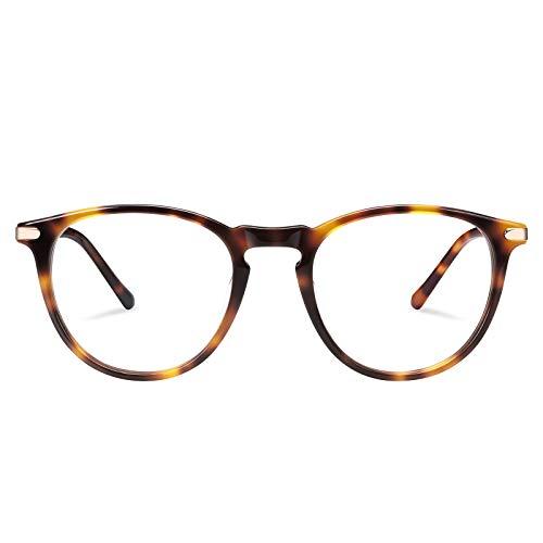 TSEBAN Vintage polariserade damsolglasögon kvinnor blåljusfilter glasögon, acetatram och UV 400 skydd