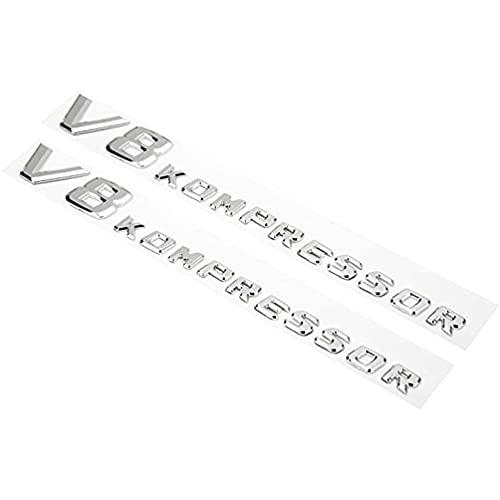 YFBB 2PC Coche ABS 3D V8 Compresor Guardabarros Lateral Emblema de Letra Insignia Etiqueta de Calidad, para Mercedes Benz