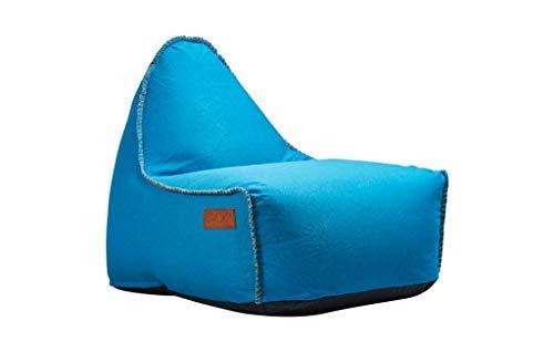 SACKit - RETROit Canvas Turkis - Indoor Sitzsack mit Lehne und Füllung mit EPS Kugeln für eine optimalen Sitzkomfort - Großer Sitzsacke für Erwachsene
