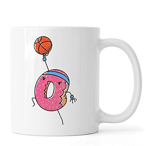 Desconocido Donut Basketball Player Dunkin The Ball Taza de café de té de cerámica Blanco