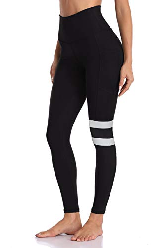 WIHOLL Black Leggings for Women High Wiasted Yoga Pants with Pockets Non See Through XS