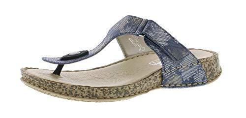 Rieker 61165 Damen Sandaletten,Sommerschuh,Sommersandale,bequem,flach,blau-metallic/93,40 EU / 6.5 UK